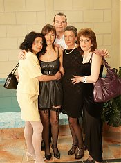 Four hot mature sluts doing one single guy