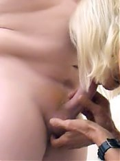 Stocking clad mature blondie gets her pussy fingered after giving a nasty deepthroat live