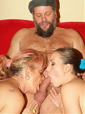 Naughty matures Silvia and Christina take turns in sucking a cock and got a messy facial