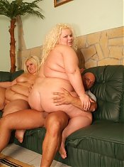 Fat mature blondies Melinda Shy and Rosa suck a cock with gusto and got their juicy slits drilled