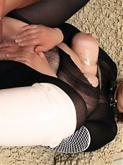 Naughty mature Olesya goes down on a cock then takes it balls deep inside her snatch
