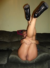 Blonde mature ex girlfriend Sonya hangs out in the living room and gets naked for the camera