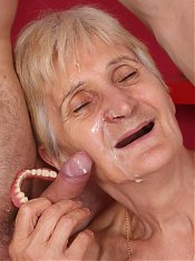 Sensual grandma Irene gets her hairy pussy plugged with a dick and her wrinkled face splooged